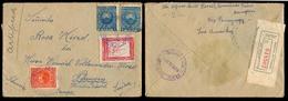 PARAGUAY. 1926 (10 Feb). Asuncion - Switzerland. Reg Multifkd Env Incl 2 Peso Map Stamp + R-label Swiss Consulate Usage. - Paraguay