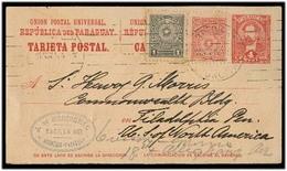 PARAGUAY. 1914 (10 Nov). Ausncion - USA. 4c Red Stat Card + 2 Adtls. VF. - Paraguay