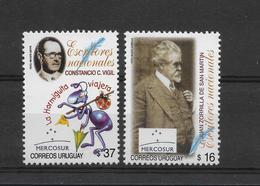 URUGUAY 2005 WRITERS, LITERATURE, CONSTANCIO VIGIL, ZORRILLA DE SAN MARTIN 2 VALUES MNH - Uruguay