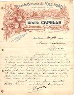 1 Faktuur Grande Brasserie Du POLE NORD  Emile Capelle Bières Bourgeoises Saint Quentin C1906 à Mr Scalabrino Le Cateau - Alimentaire