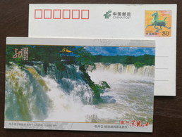 Jingpohu Waterfall,CN11 Beautiful Heilongjiang National Scenic Spot Small Size Lottery Coupon Ticket Pre-stamped Card - Holidays & Tourism