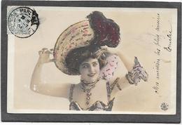 Cpa Femme Au Grand Chapeau - Paillettes - Femmes