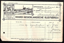Swastika 1922 Noord-Nederlands Oliefabriek Mariënberg > 25oo Kg Lijnkoeken Repaired Vertical Tear (La29-79) - Nederland