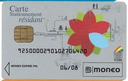 CARTE A PUCE CHIP CARD MONEO CARTE STATIONNEMENT RÉSIDANT VILLE DE TOURS TRACES USAGE MAIS TTB - Frankrijk