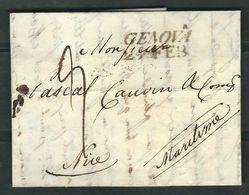 ITALIE 1823 Marque Postale Taxée De Génes Pour Nice - Italy