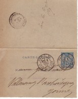FRANCE : 1887 - Carte-Lettre - Convoyeur - Paris à Villeneuve-l'Archevêque - Cartes-lettres