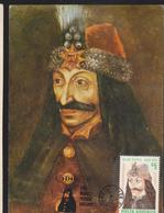 PRINCE ``DRACULA`` VLAD TEPES MAXIMUM CARD  WITH SPECIAL POSTMARK GIURGIU  1985 - Tarjetas – Máximo