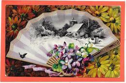 Cpa Gaufrée, Relief, Dorures. EVENTAIL Décor Village Sous La Neige, Fleurs, Violettes, Marguerites - Fantaisies