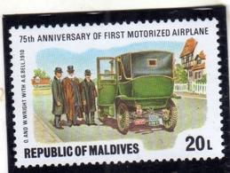 MALDIVES  MALDIVE 1978 MOTORIZED AIRPLANE 75th ANNIVERSARY 20L MNH - Maldive (1965-...)