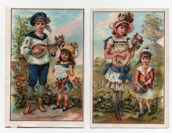 CHROMO Chicorée Bériot Lille Gombert Grande Fille Petite Fille Grand Garçon Fleurs Musique Mandoline (2 Chromos) - Autres