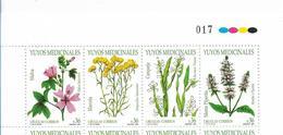 URUGUAY 2004 MEDICINAL PLANTS, FLOWERS, STRIP OF 4 VALUES, MINT NH - Uruguay
