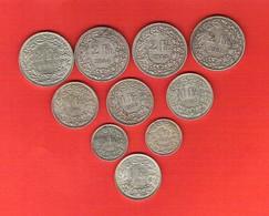 Suisse Switzerland Lot 10 Pièces En Argent Helvetia Debout 2 Frcs 1 Frc 1/2 Franc 66 Gr.au Total - Suisse
