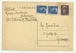 CARTOLINA POSTALE FRANCOBOLLO  CENTESIMI 50 +2 DA CENTESIMI 35 FG - 5. 1944-46 Luogotenenza & Umberto II