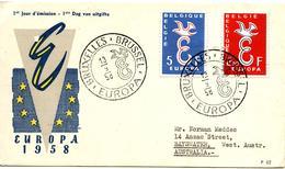 BELGIQUE  FDC EUROPA 1958 - 1951-60