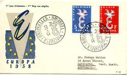 BELGIQUE  FDC EUROPA 1958 - FDC