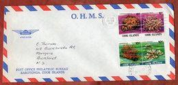 Luftpost, MiF Zusammendrucke Nesseltiere, Rarotonga Nach Auckland 1982 (71243) - Cookinseln