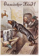CPM Chien Buvant De L' Eau Dog Teckel Dackel Daschsund N° 3031Bière Illustrateur (2 Scans) - Chiens