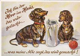 CPM Chien Fumant La Pipe Dog Teckel Dackel Daschsund Bière Pelote De Laine N° 2114  Illustrateur (2 Scans) - Chiens