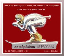 """SUPER PIN'S PRESSE-JO ALBERVILLE 92 : RARE PIN'S 3D Or Et ARGENT Réservé Au STAFF """"LES DEPECHES, LE PROGRES"""" 5X3,5cm - Media"""