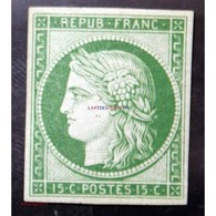 1849 - 1850 Céres N°2e* - 15c Vert Réimpression 1862. Signé - 1849-1850 Cérès