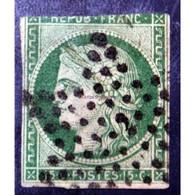 1849 - 1850 Céres N°2 - 15c Vert 1 Marge Courte, Aminci - 1849-1850 Cérès