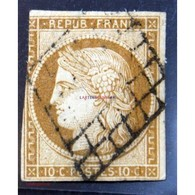 1849 - 1850 Céres N°1 - 10c Bistre, Oblitération Grille - 1849-1850 Cérès