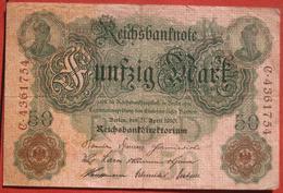 50 Mark 1910 (WPM 41) 21.4.1910 Reichsbanknote - [ 2] 1871-1918 : Duitse Rijk