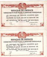 Lot De 2 Versement D'or Pour La Défense Nationale-banque De France  1 Du 25 Août 1915 De Cinquante Francs 1 Du 15 Décemb - Banque & Assurance
