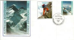 Expédition Australienne Au Sommet De L'Everest 8848 M. (West Rige & South Col)  Année 1988.Entier Postal (rare) - Alpinisme