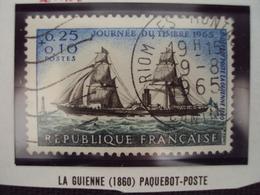 """60-69- Timbre Oblitéré N°   1446 """" La Guienne, Paquebot Poste    """"  0.50 - Francia"""