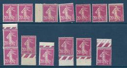 20 C Semeuse Camée Lilas-rose (YT 190) : 14 Exemplaires - Neufs Sans Charnière - 1906-38 Sower - Cameo