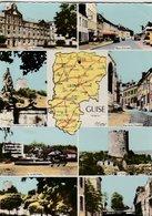 GUISE (02). Carte De Département Et 8 Vues: Le Familistère, Pl. D'Armes, Rue De La Citadelle, Jardin Public, Tour, Squar - Guise