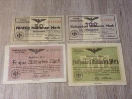 Notgeldscheine Lot 4 Scheine 50 Millionen Bis 500 Milliarden Mark Reichsbahndirektion Breslau 1923 Reichsbahn - [11] Emissioni Locali