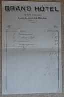 Facture Ancienne -  Grand Hôtel Mas Frères - Lamalou Les Bains - France