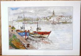 PORNIC AQUARELLE DE MARC GUITTENY BATEAUX SUR LES QUAIS A PORNIC N° 75 - Peintures & Tableaux