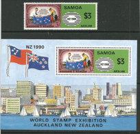 SAMOA-NOUVELLE.ZÉLANDE (NZ 1990) . Un B-F  + Un T-p Neufs ** * Des ILES SAMOA. - Emissions Communes