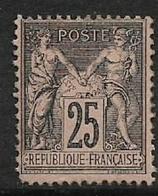 France, 1886, 25 Cents, Black On Rose, MH * - 1876-1898 Sage (Type II)