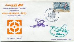ENVELOPPE CONCORDE 1er VOL PARIS - MULHOUSE - PARIS DU 7 JUIN 1987 - Concorde