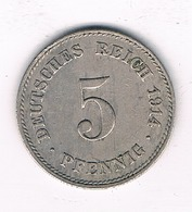 5 PFENNIG 1914 J DUITSLAND/2698/ - [ 2] 1871-1918: Deutsches Kaiserreich