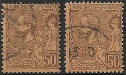 Monaco, 1891, 50 Cents Brown On Orange, 50 Cents Violet-brown On Orange, Used - Monaco