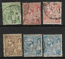 Monaco, 1901 - 1921, 5c, 10c, 10c, 15c, 25c,25c, Shades, Used - Used Stamps