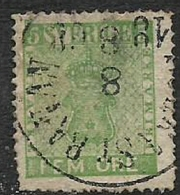 Sweden, 1858, 5 Ore, Yellow-green, Used - Sweden