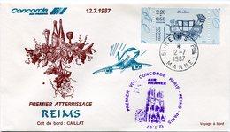 ENVELOPPE CONCORDE 1er VOL PARIS - REIMS - PARIS  DU 12-7-1987 - Concorde