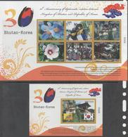 BHUTAN, 2017, MNH, 30 YEARS OF DIPLOMATIC RELATIONS WITH KOREA, COSTUMES, TEMPLES, FLOWERS, SHEETLET+ S/SHEET - Costumes