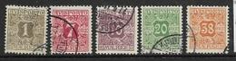 Denmark, 1901, Newspaper Stamp, 1 Ore, 7 Ore, 10 Ore, 20 Ore, 38 Ore, Perf 12.25., Used - 1864-04 (Christian IX)
