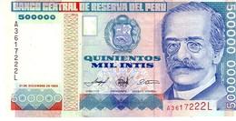 Peru P.147 500000 Intis 1989  Unc - Perù