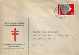 """Motiv Brief  """"Schirmbildzentrale Grenche - Tuberkulose Bekämpfung""""        1957 - Suisse"""