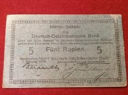 Interims Banknote Deutsch Ostafrikanische Bank 5 Rupien Daressalam Tabora 1916 Rosenberg 933 - Kolonien & Ausländische Banken