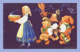 CPA Colorisée - Fantaisie (Erling Nieven) - Norvege. Jeune Fille Et Lutins // Noel - Enfants