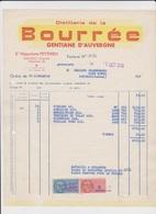 Facture Aperitif La Bourrée Distillerie De Gentiane Mauriac Cantal - 1900 – 1949